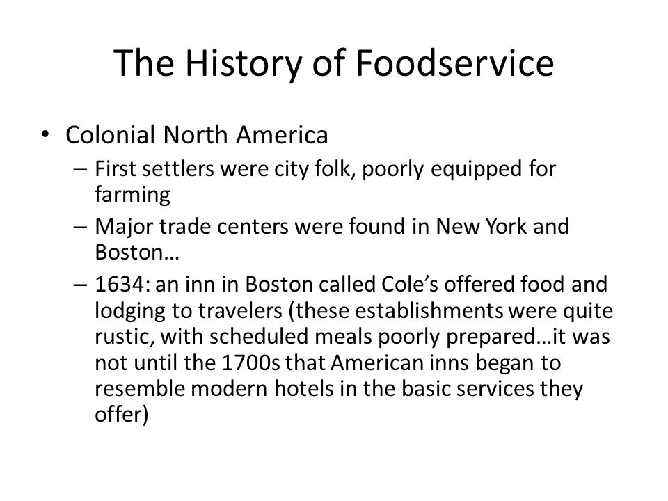 The History of Foodservice