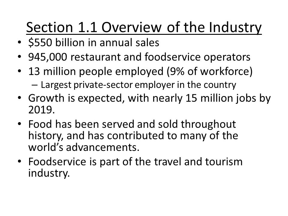 Section 1.1 Overview of the Industry