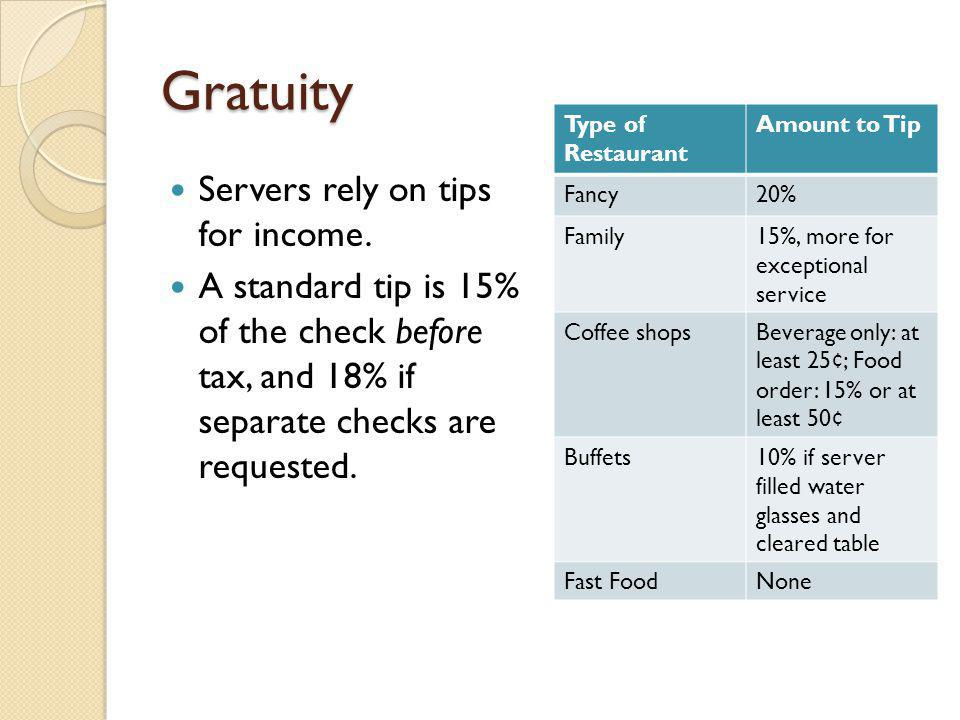 Gratuity Servers rely on tips for income.