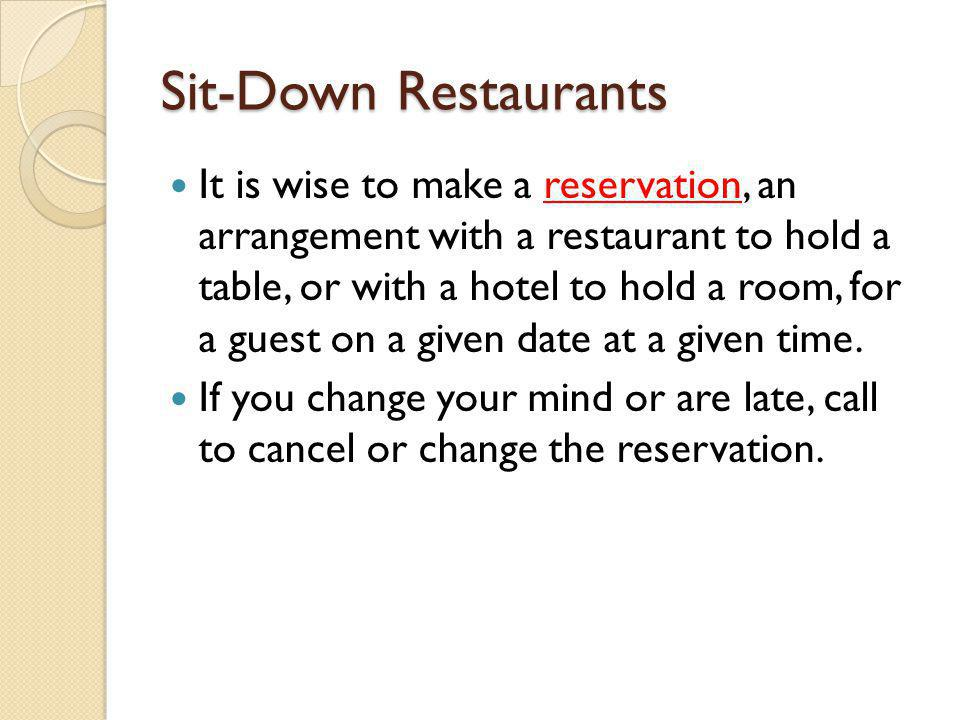 Sit-Down Restaurants