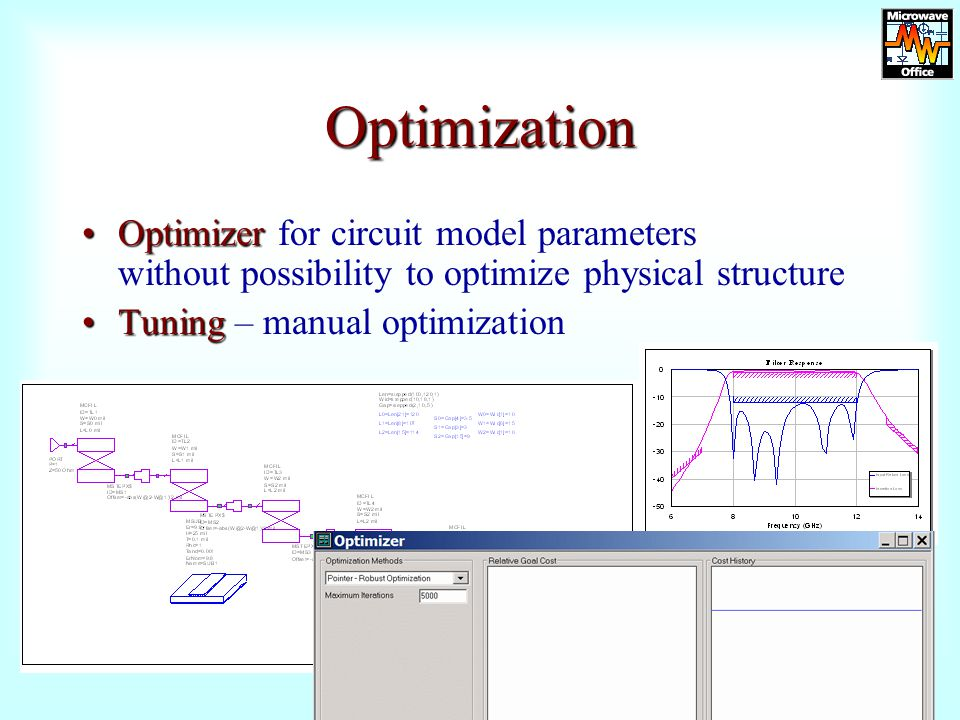 Optimization Optimizer for circuit model parameters without possibility to optimize physical structure.