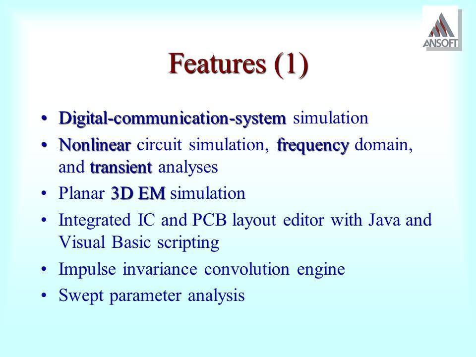Features (1) Digital-communication-system simulation