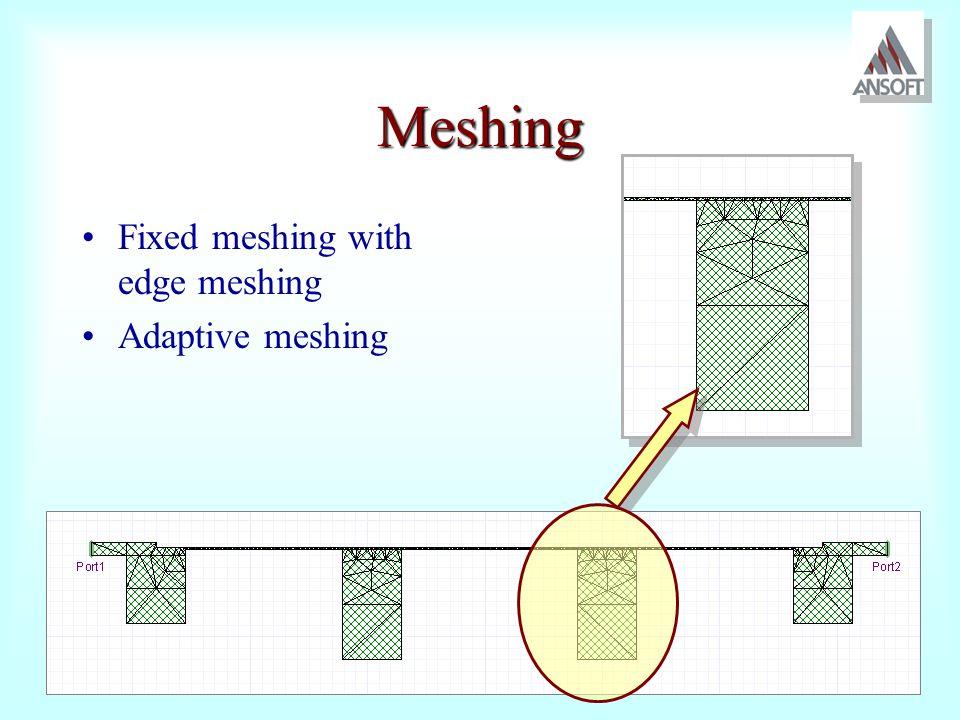 Meshing Fixed meshing with edge meshing Adaptive meshing