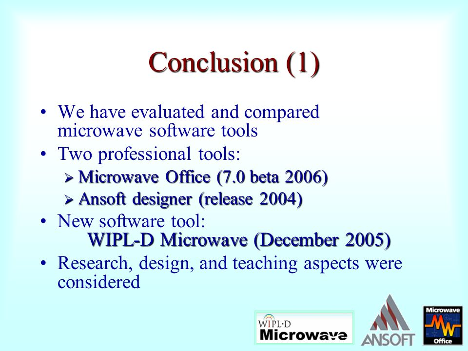 Conclusion (1) We have evaluated and compared microwave software tools