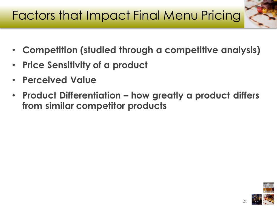 Factors that Impact Final Menu Pricing