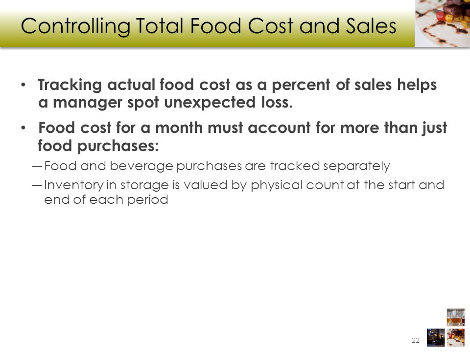 Controlling Total Food Cost and Sales