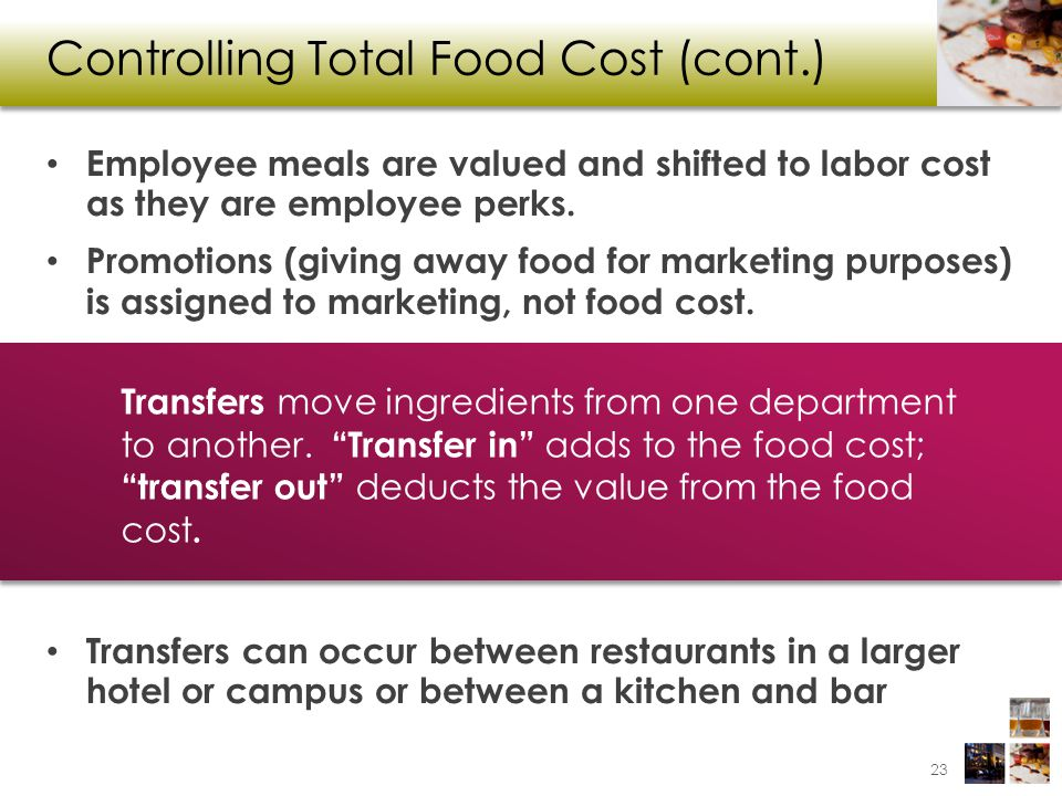 Controlling Total Food Cost (cont.)