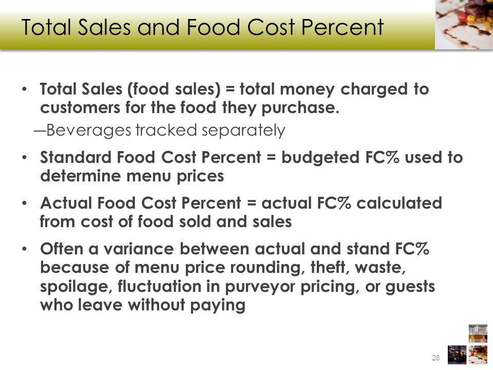 Total Sales and Food Cost Percent