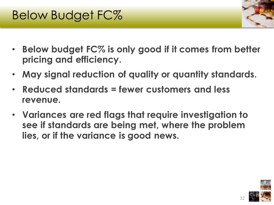 Below Budget FC% Below budget FC% is only good if it comes from better pricing and efficiency.