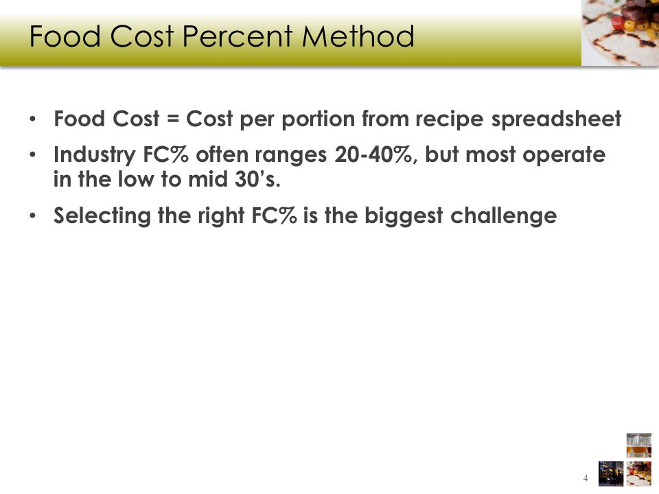 Food Cost Percent Method