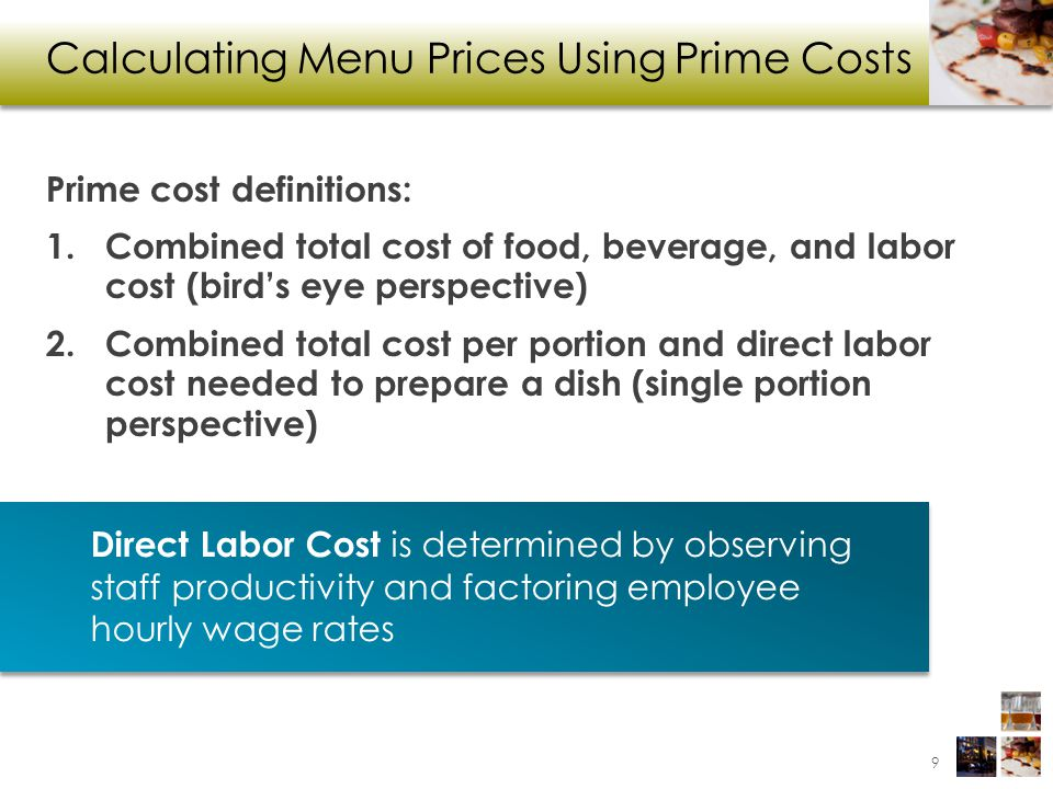 Calculating Menu Prices Using Prime Costs