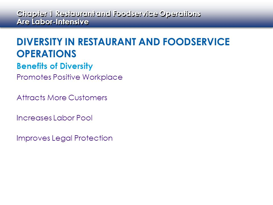 Diversity in Restaurant and Foodservice Operations