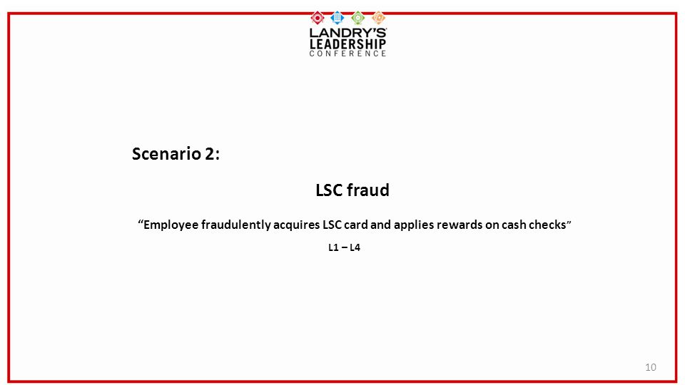 Scenario 2: LSC fraud. Employee fraudulently acquires LSC card and applies rewards on cash checks