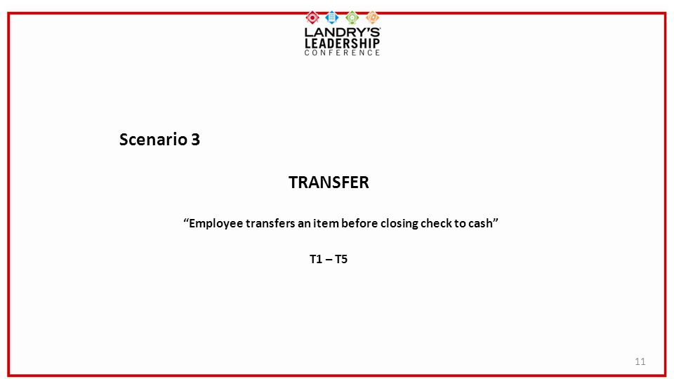 Employee transfers an item before closing check to cash