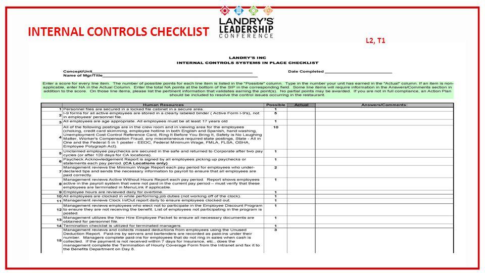 INTERNAL CONTROLS CHECKLIST