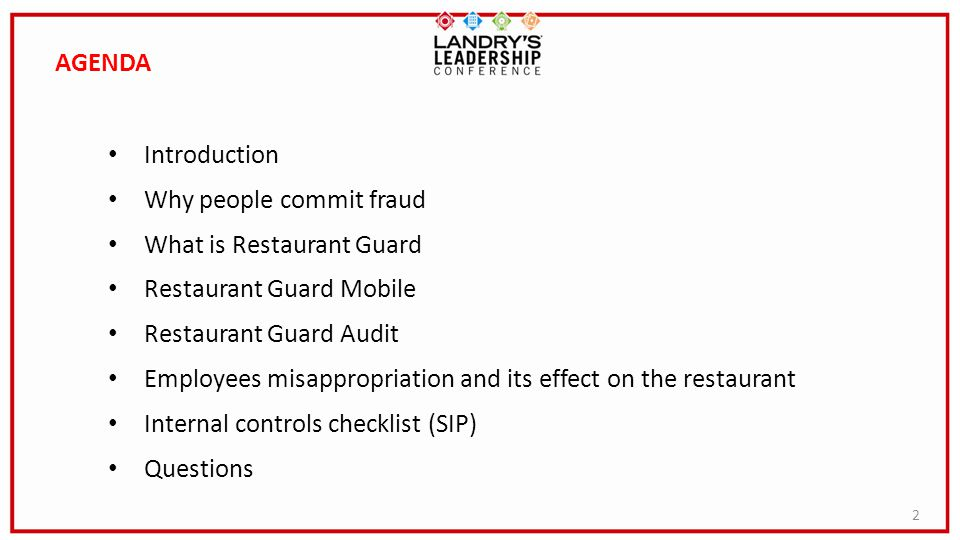 AGENDA Introduction. Why people commit fraud. What is Restaurant Guard. Restaurant Guard Mobile.