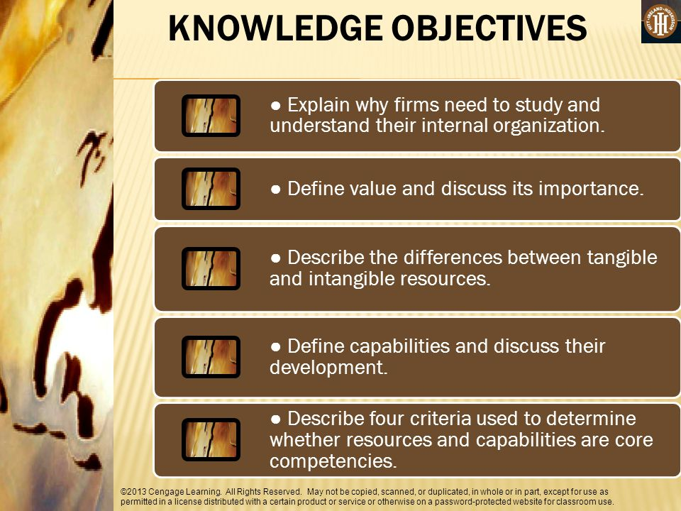 KNOWLEDGE OBJECTIVES ● Explain why firms need to study and understand their internal organization. ● Define value and discuss its importance.