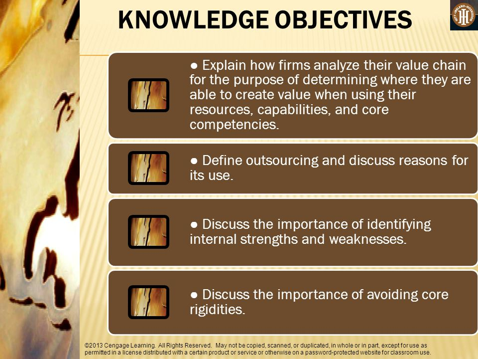 KNOWLEDGE OBJECTIVES