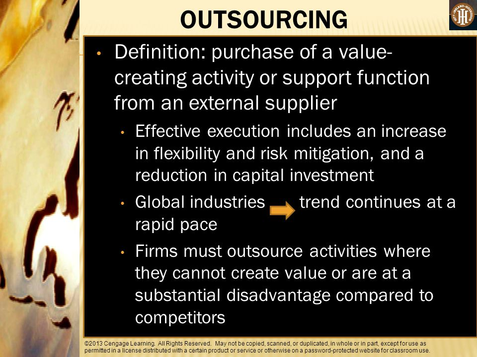 OUTSOURCING Definition: purchase of a value-creating activity or support function from an external supplier.
