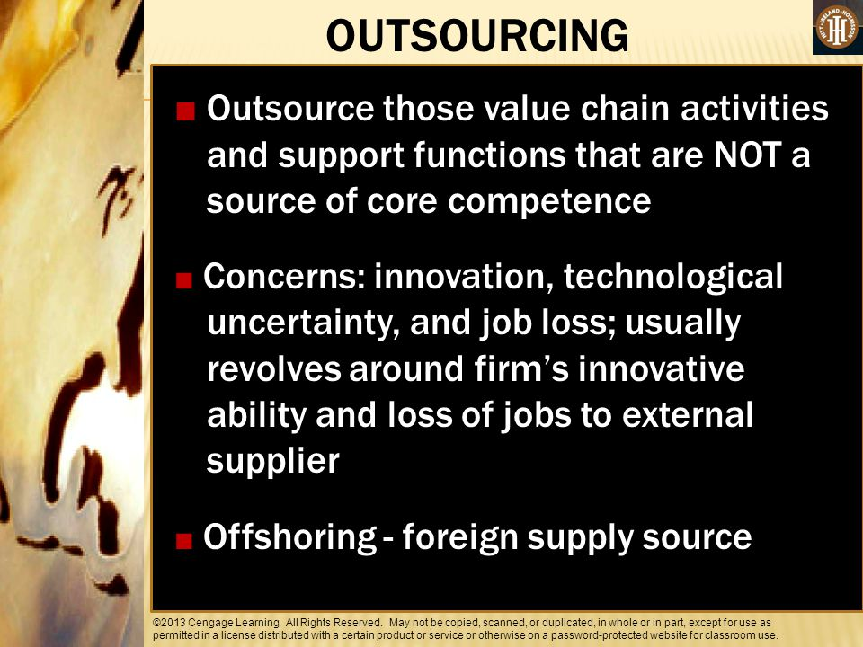OUTSOURCING ■ Outsource those value chain activities and support functions that are NOT a source of core competence.