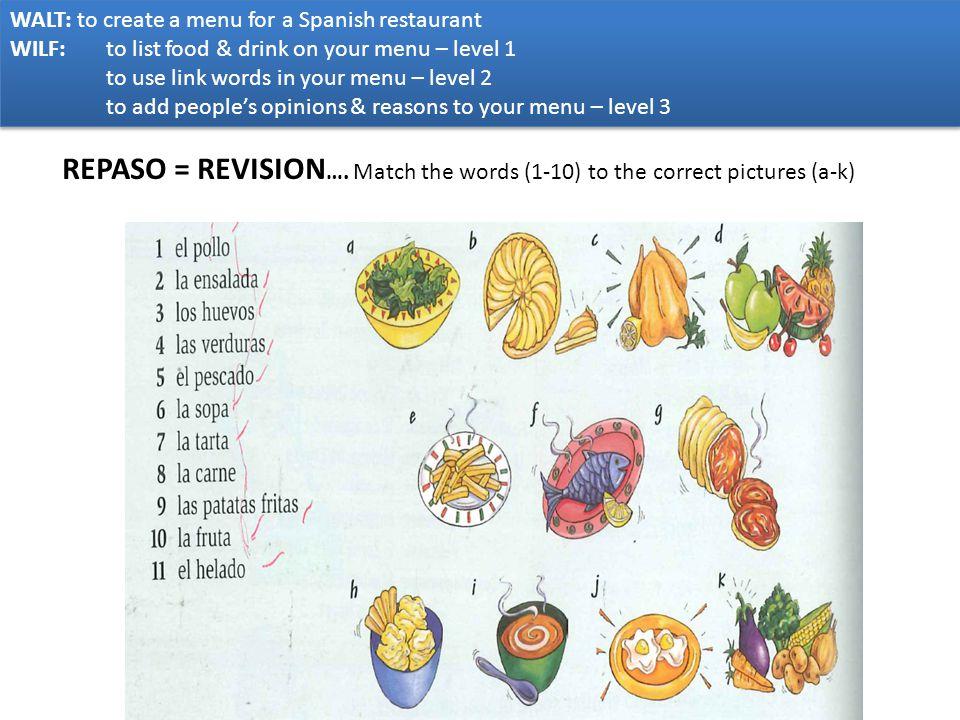 WALT: to create a menu for a Spanish restaurant