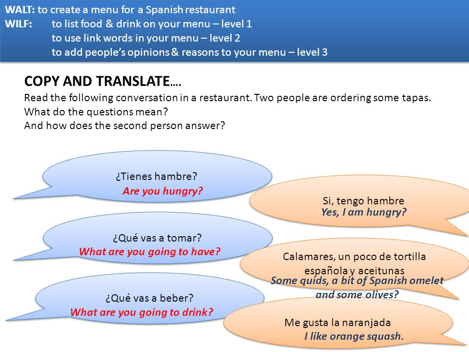 COPY AND TRANSLATE…. WALT: to create a menu for a Spanish restaurant
