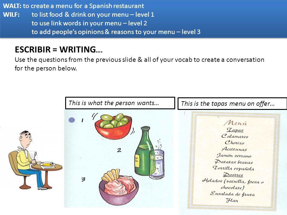 ESCRIBIR = WRITING…. WALT: to create a menu for a Spanish restaurant