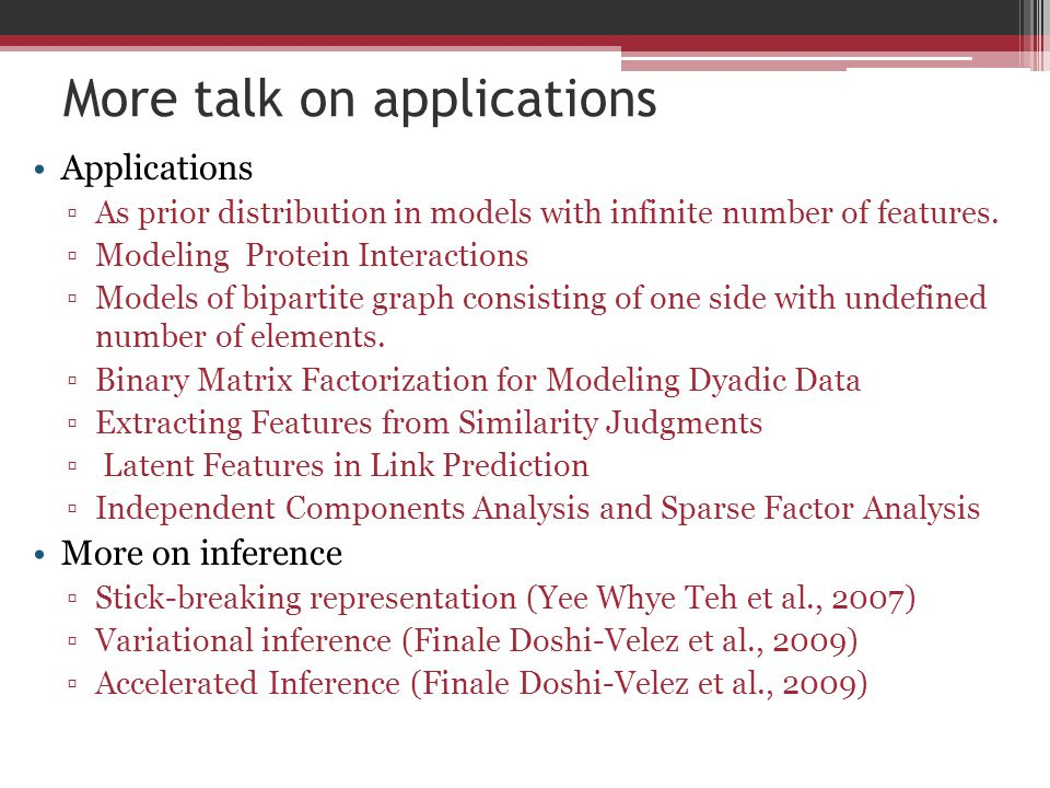 More talk on applications