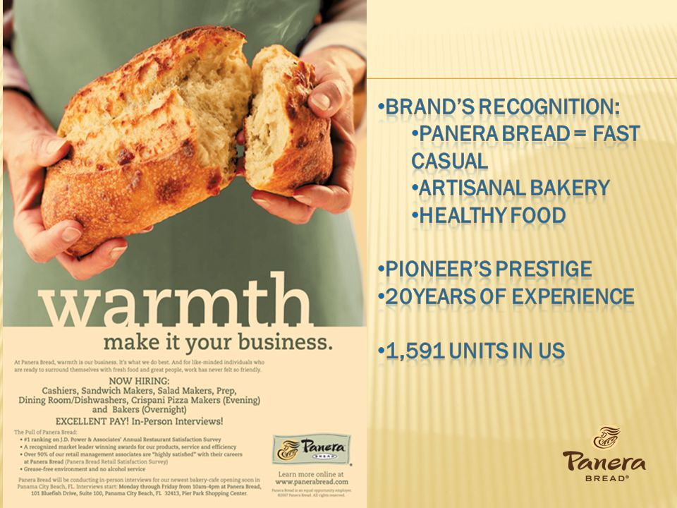 Brand's Recognition: Panera Bread = Fast Casual. Artisanal Bakery. Healthy food. Pioneer's prestige.