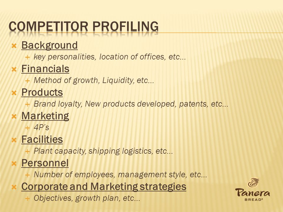 Competitor Profiling Background Financials Products Marketing