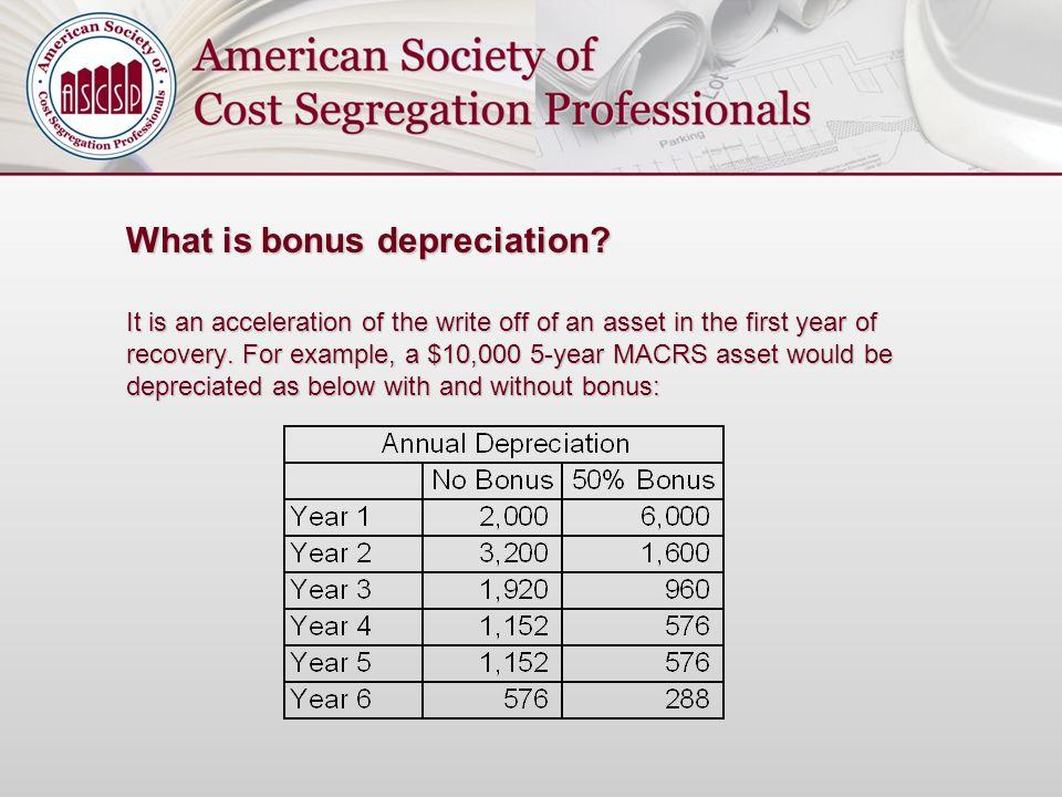 What is bonus depreciation