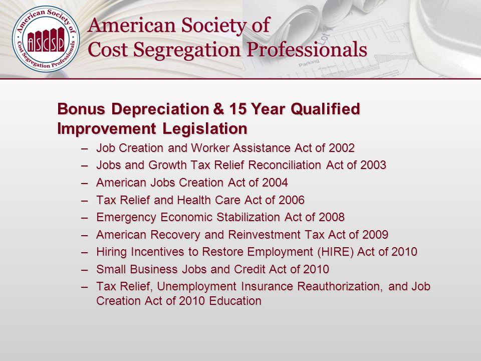 Bonus Depreciation & 15 Year Qualified Improvement Legislation