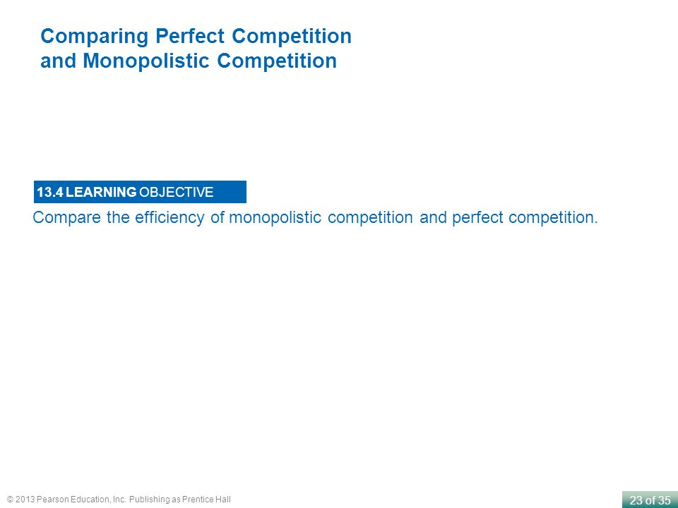 Comparing Perfect Competition and Monopolistic Competition