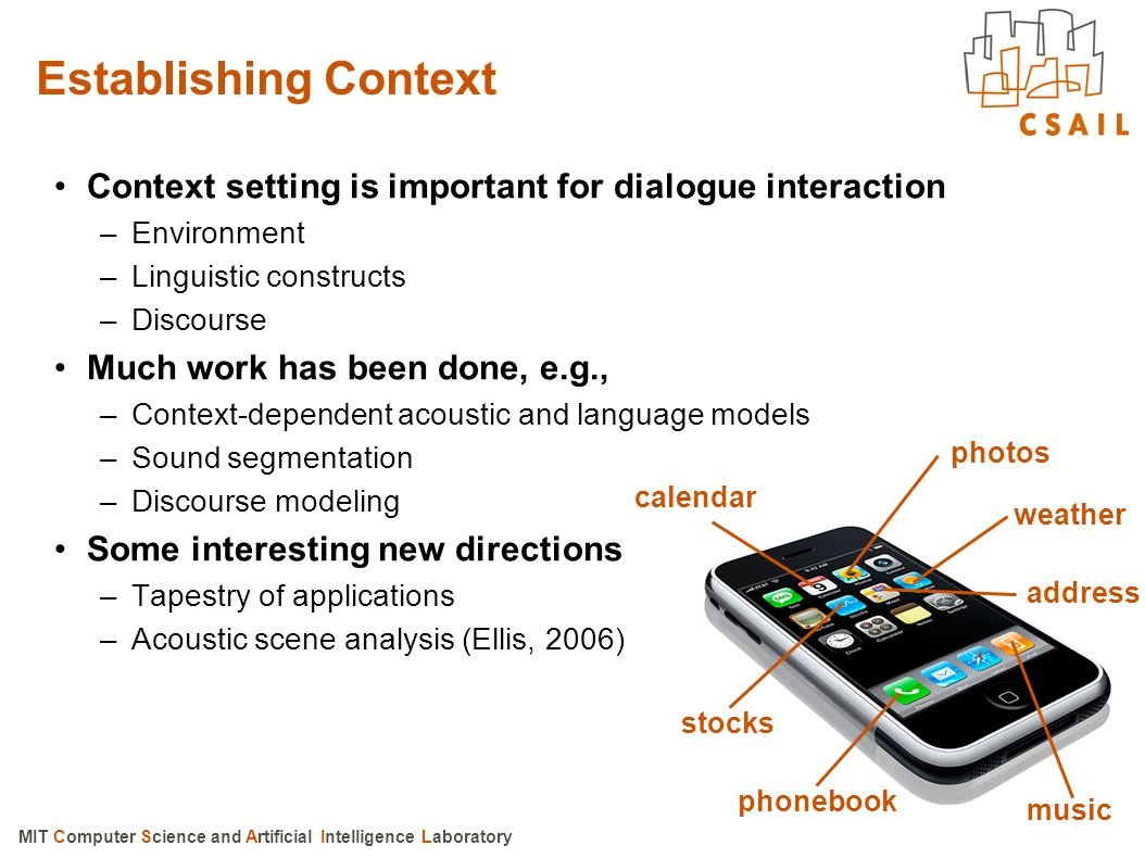 Establishing Context Context setting is important for dialogue interaction. Environment. Linguistic constructs.