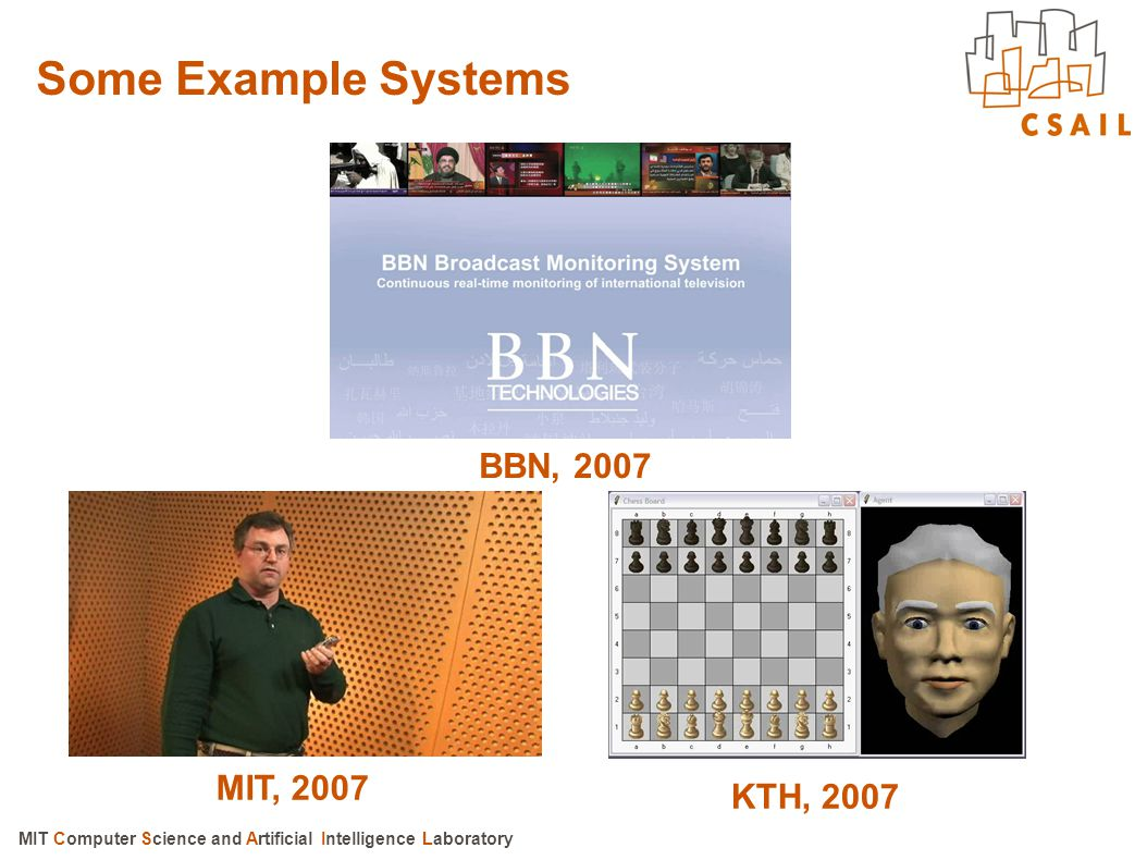 Some Example Systems BBN, 2007 MIT, 2007 KTH, 2007