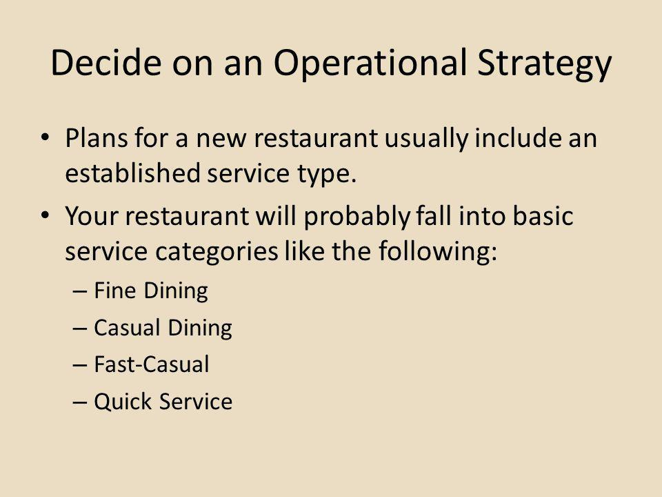 Decide on an Operational Strategy