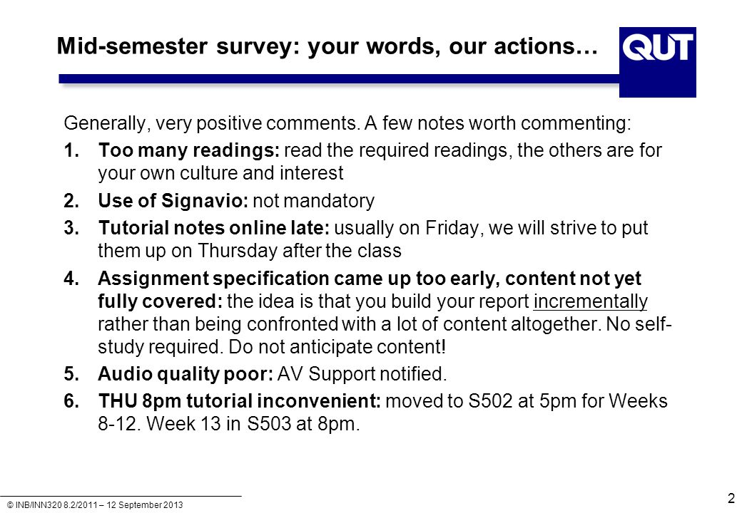 Mid-semester survey: your words, our actions…