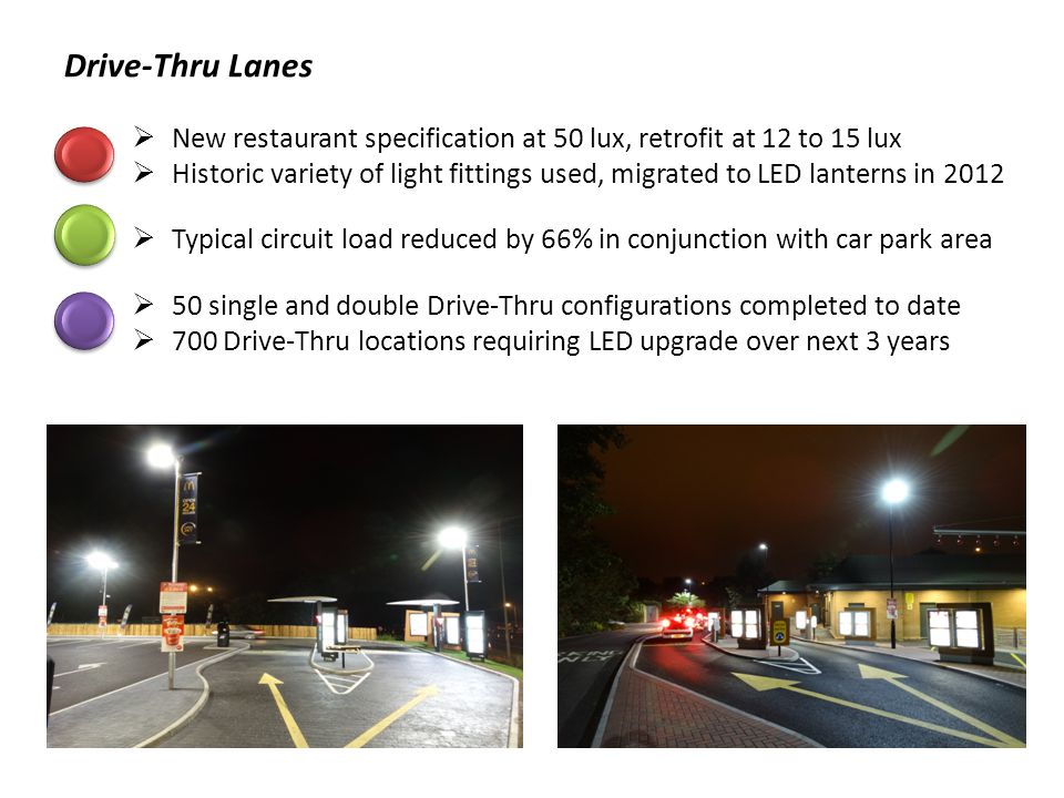 Drive-Thru Lanes New restaurant specification at 50 lux, retrofit at 12 to 15 lux.