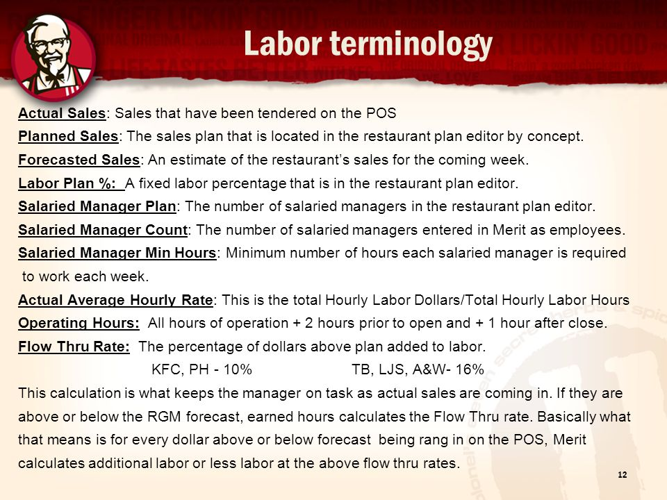 Labor terminology Actual Sales: Sales that have been tendered on the POS.