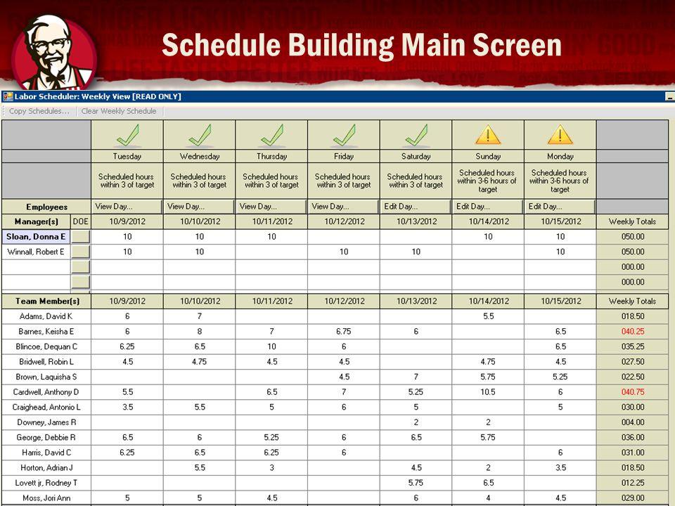 Schedule Building Main Screen