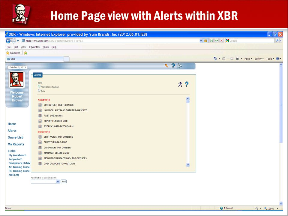 Home Page view with Alerts within XBR