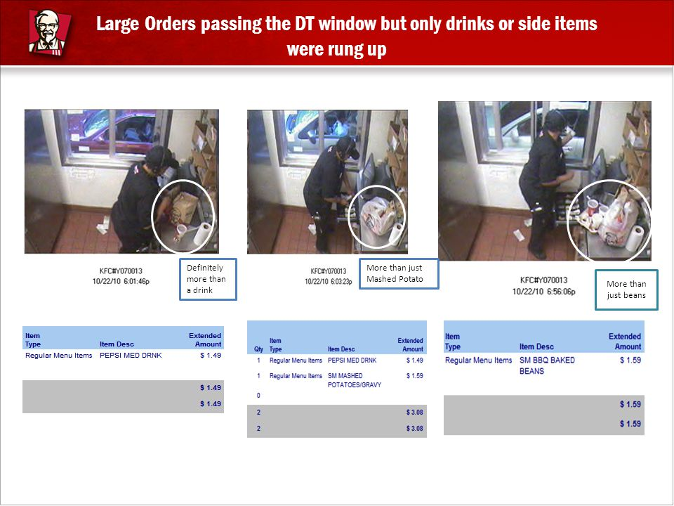 Large Orders passing the DT window but only drinks or side items were rung up