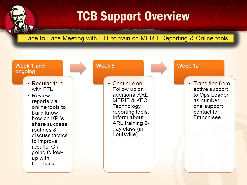 TCB Support Overview Face-to-Face Meeting with FTL to train on MERIT Reporting & Online tools. Week 1 and ongoing.