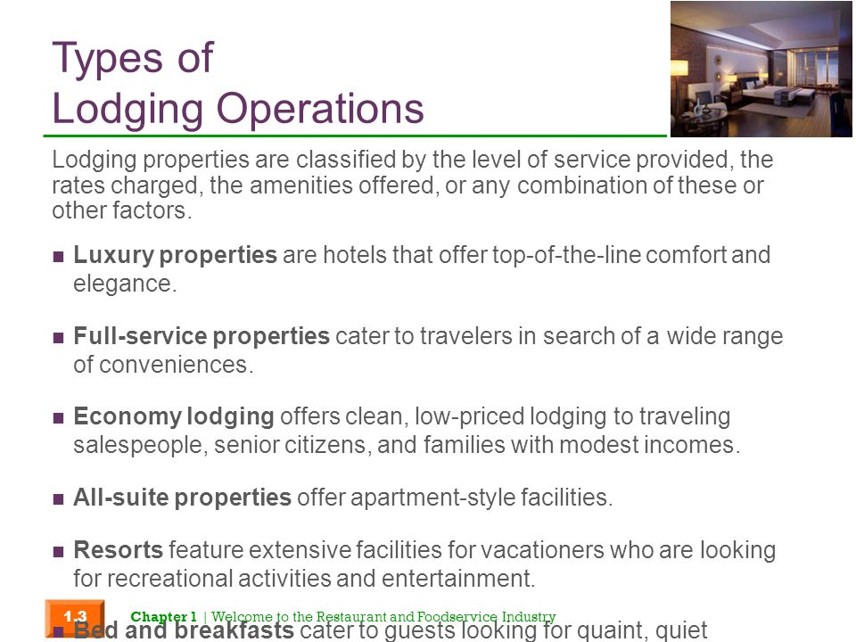 Types of Lodging Operations
