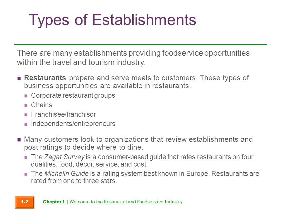 Types of Establishments