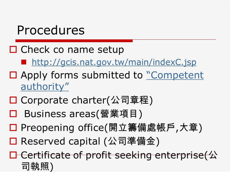 Procedures Check co name setup