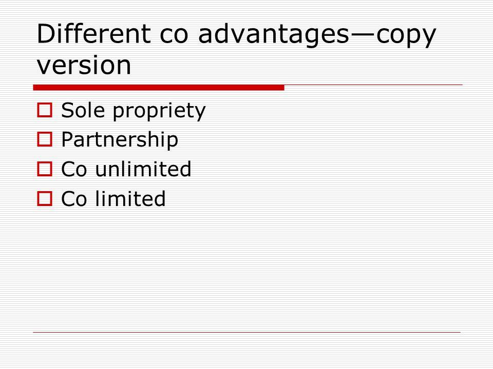 Different co advantages—copy version