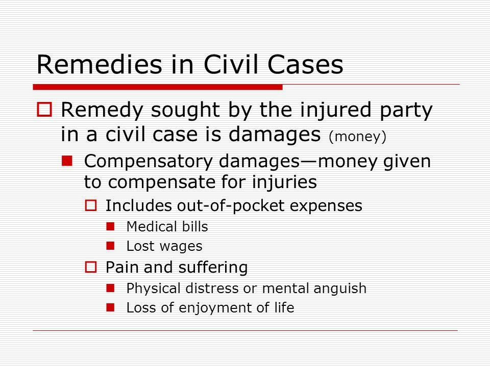 Remedies in Civil Cases