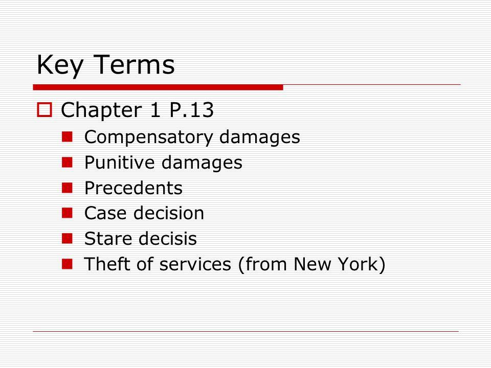 Key Terms Chapter 1 P.13 Compensatory damages Punitive damages