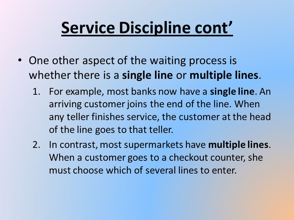 Service Discipline cont'